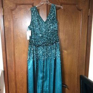 Formal turquoise long Dress V Neck
